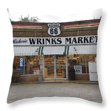 Route 66 - Wrink's Market Throw Pillow by Frank Romeo