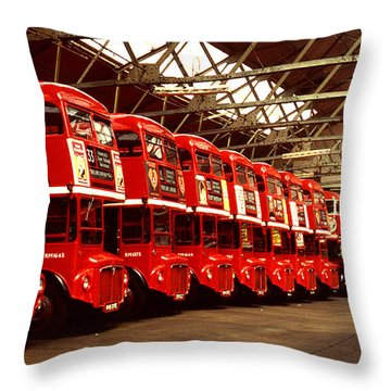 Routemasters Throw Pillow by John Topman