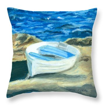 Row Boat In York Maine Throw Pillow