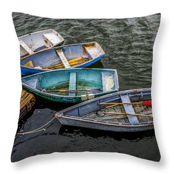 Row Boats At Dock Throw Pillow
