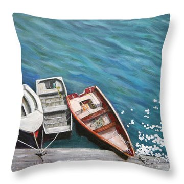 Row Boats At Dock Throw Pillow