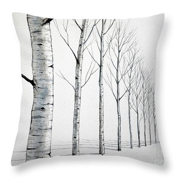 Row Of Birch Trees In The Snow Throw Pillow