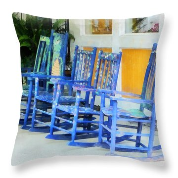 Row Of Blue Rocking Chairs Throw Pillow by Susan Savad