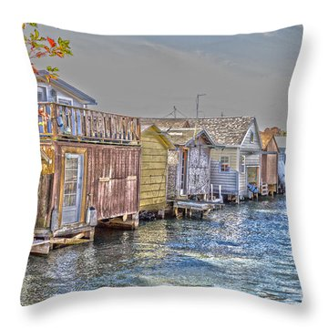 Row Of Boathouses Throw Pillow by William Norton