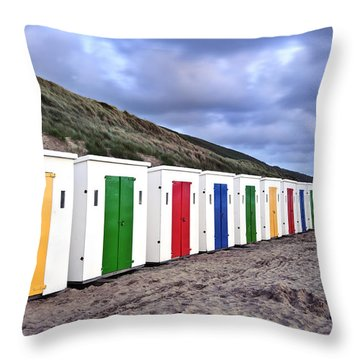 Row Of Colorful Beach Huts  Throw Pillow by Matthew Gibson