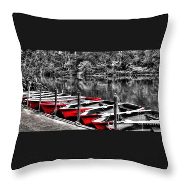 Row Of Red Rowing Boats Throw Pillow