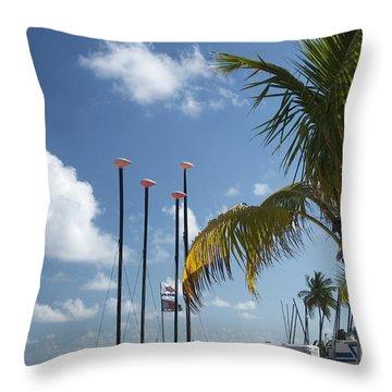 Row Of Sailboats Throw Pillow