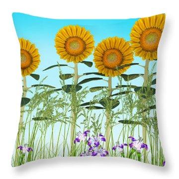 Row Of Sunflowers Throw Pillow