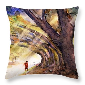 Row Of Trees Burma Throw Pillow by Randy Sprout