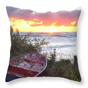 Rowboat At Sunrise Throw Pillow