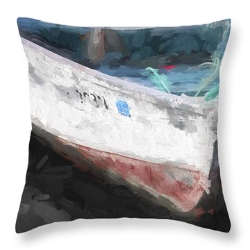 Rowboat Painterly Effect Throw Pillow