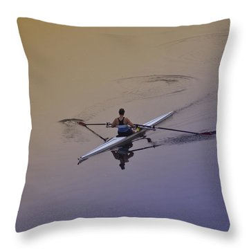 Rower Throw Pillow by Bill Cannon