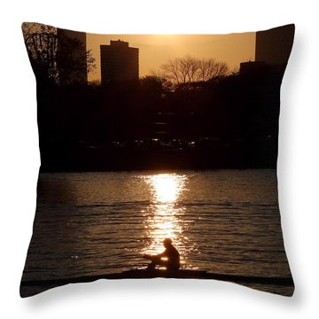 Rower Sunrise Throw Pillow