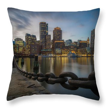 Rowes Wharf In January Throw Pillow