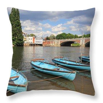Rowing Boats At Hampton Court Throw Pillow