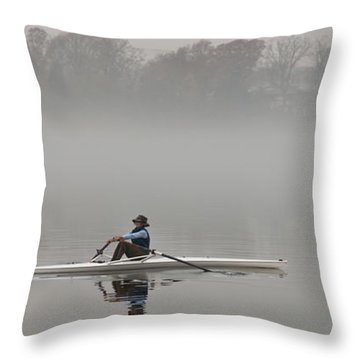 Rowing Into Morning Fog Throw Pillow
