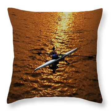 Rowing Into The Sunset Throw Pillow by Bill Cannon