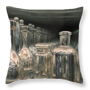 Throw Pillow featuring the photograph Rows Of Bottles by Randi Grace Nilsberg