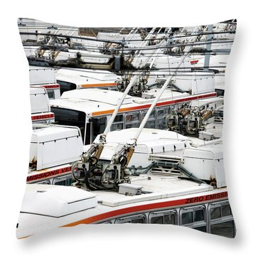 Rows Of Electric Powered Buses, San Throw Pillow