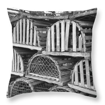 Rows Of Old And Abandoned Lobster Traps Throw Pillow by John Telfer