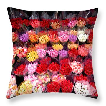 Rows Of Roses Throw Pillow by Amy Cicconi