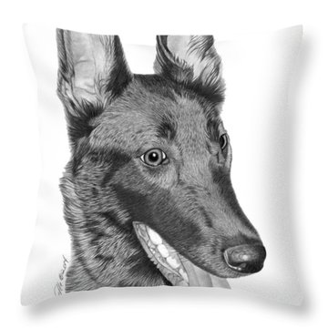 Throw Pillow featuring the drawing Roxy - 028 by Abbey Noelle