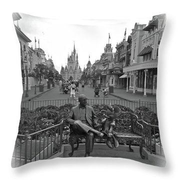 Roy And Minnie Mouse Black And White Magic Kingdom Walt Disney World Throw Pillow by Thomas Woolworth