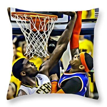 Roy Hibbert Vs Carmelo Anthony Throw Pillow by Florian Rodarte
