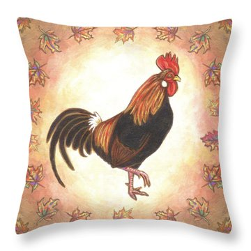 Roy The Rooster Two Throw Pillow by Linda Mears
