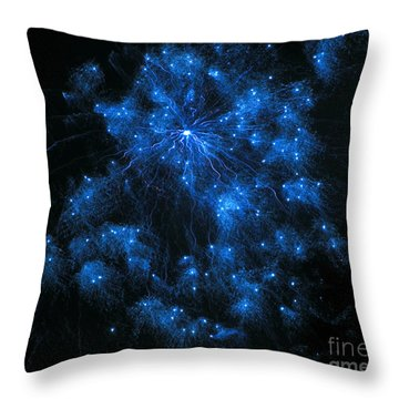 Royal Blue Fireworks Throw Pillow