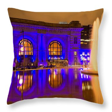 Royal Blue Reflections Union Station Throw Pillow