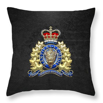 Royal Canadian Mounted Police - Rcmp Badge On Black Leather Throw Pillow