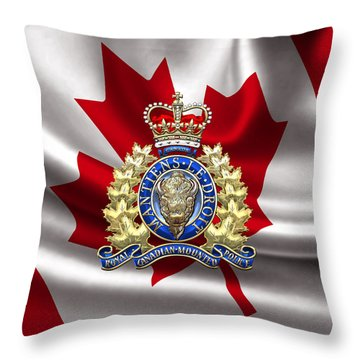 Royal Canadian Mounted Police - Rcmp Badge Over Waving Flag Throw Pillow