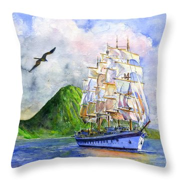 Royal Clipper Leaving St. Lucia Throw Pillow