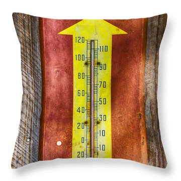 Throw Pillow featuring the photograph Royal Crown Barn Thermometer by Carolyn Marshall