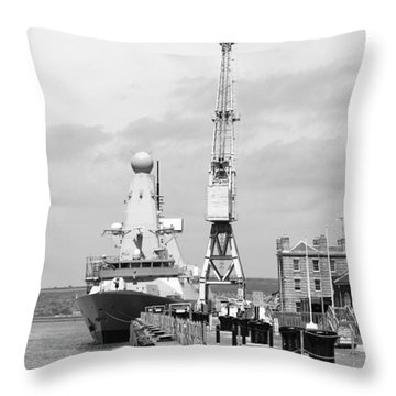 Royal Navy Docks And Hms Defender Throw Pillow