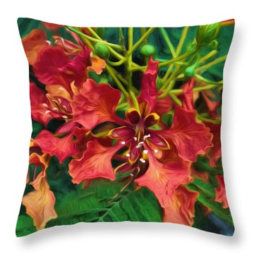 Royal Ponciana Throw Pillow