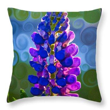 Royal Purple Lupine Flower Abstract Art Throw Pillow