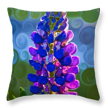 Throw Pillow featuring the painting Royal Purple Lupine Flower Abstract Art by Omaste Witkowski