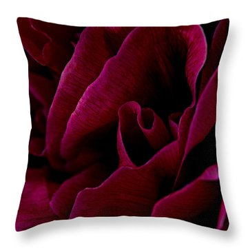 Royal Red Peony Throw Pillow