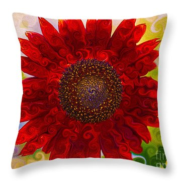 Royal Red Sunflower Throw Pillow