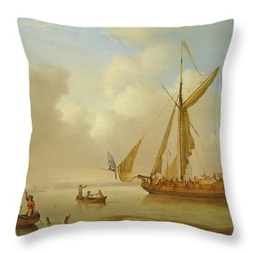 Royal Yacht Becalmed At Anchor Throw Pillow by  Peter Monamy