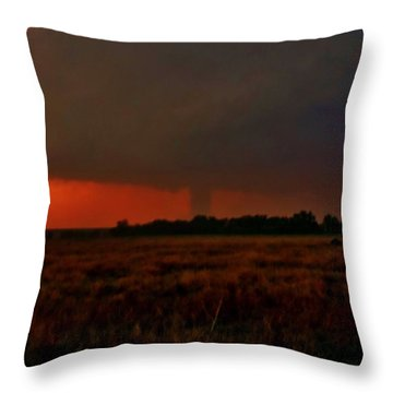 Throw Pillow featuring the photograph Rozel Tornado On The Horizon by Ed Sweeney