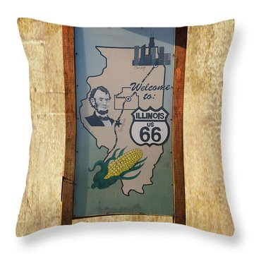 Rt 66 Towanda Il Welcome Signage Throw Pillow by Thomas Woolworth