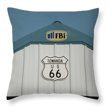 Rt 66 Towanda Plague Throw Pillow by Thomas Woolworth