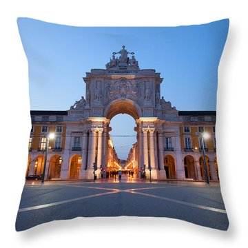 Rua Augusta Arch At Dusk In Lisbon Throw Pillow