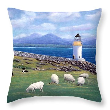 Rubh An Duin Lighthouse Scotland Throw Pillow