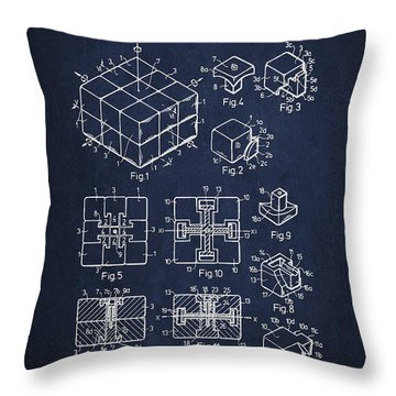 Rubiks Cube Patent Throw Pillow by Aged Pixel