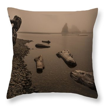 Ruby Beach Fog Throw Pillow