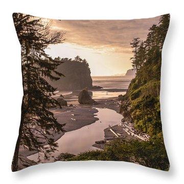 Ruby Beach Landscape Throw Pillow